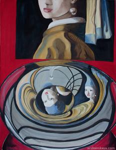 Hommage to Vermeer. Oil on board. 50 x 65 cm.
